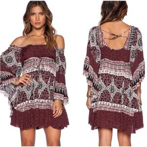 Free People burgundy boho bell sleeve mini dress